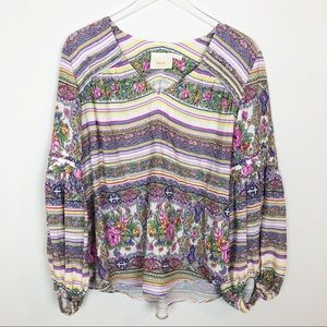 Anthropologie Maeve striped floral  BoHo top